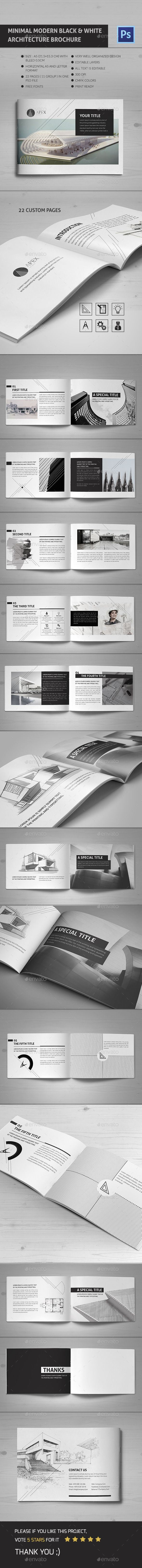 This brochure is an ideal way to showcase your Works. it's Clean, modern and simple design ideal for architecture. It is a horizontal design, available in A5 and Letter paper formats. It contains 22 pages.