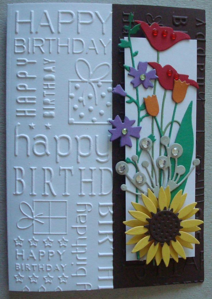Card Making Ideas With Embossing Folders Part - 19: G055 Hand Made Birthday Card Using Happy Birthday Embossing Folder, Prim  Poppy, Tulip,