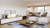 Bremnes fra Systemhus stue med utgang til hage. Moderne hus, enebolig, funksjonell bolig, ferdighus, stue, stort kjøkken