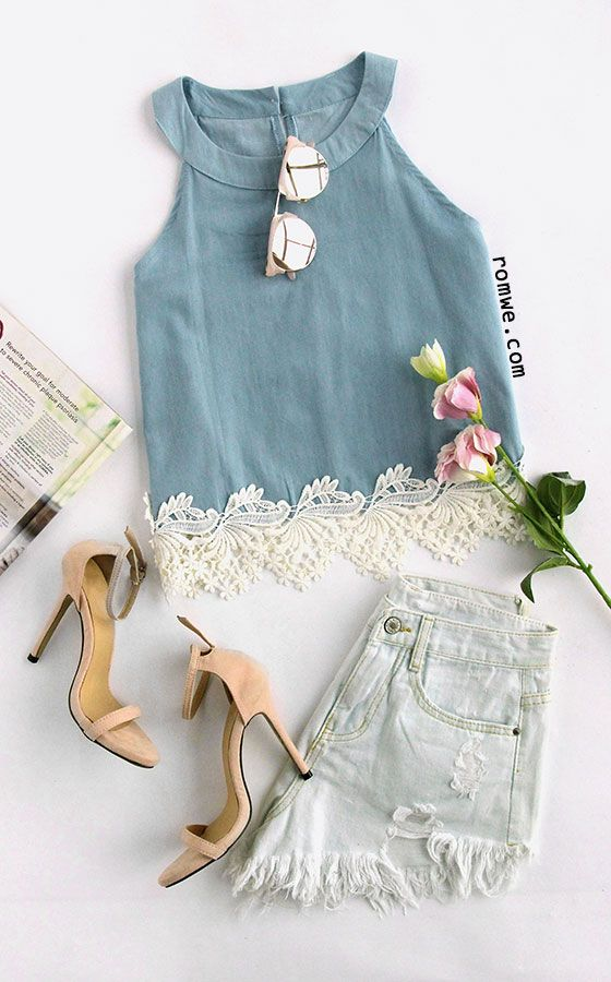 Lace Hem Keyhole Back Chambray Top