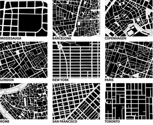 Note that the form of oldest cities is much more organic like the veins of a leaf whereas newer cities planned within the last 200 - 300 years are based on block and grid.