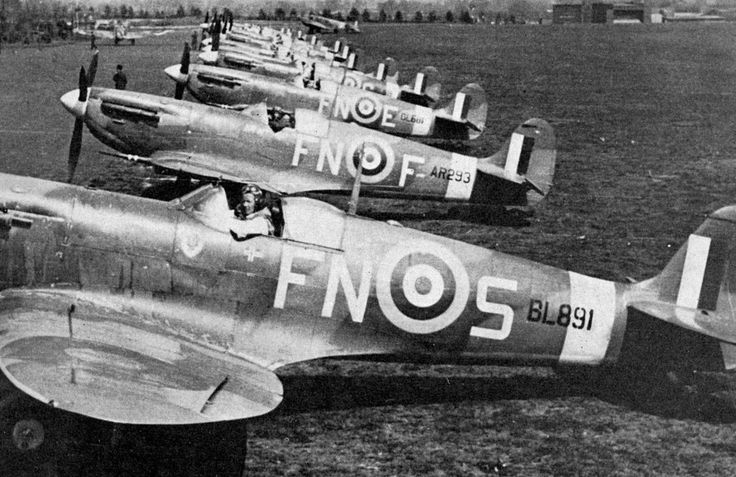 Spitfire Vs of 331 (N) Squadron at Catterick on their way to North Weald, spring 1942