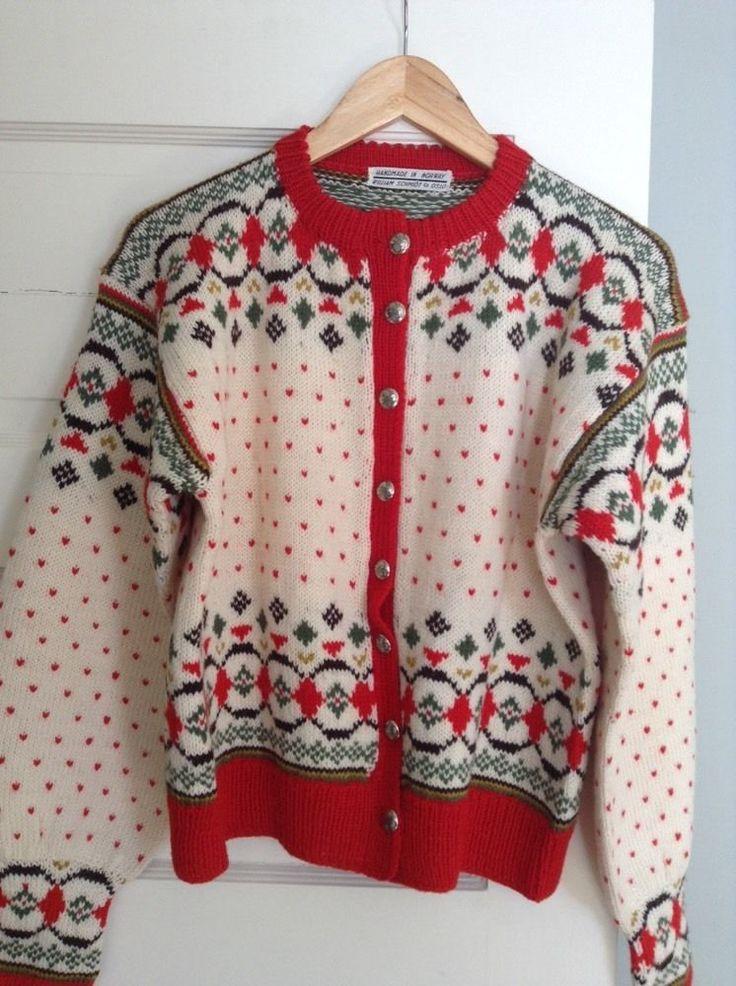 Awesome Vintage Ski Sweater Handmade In Norway By Schmidt Co, Oslo #Handmade #Cardigan