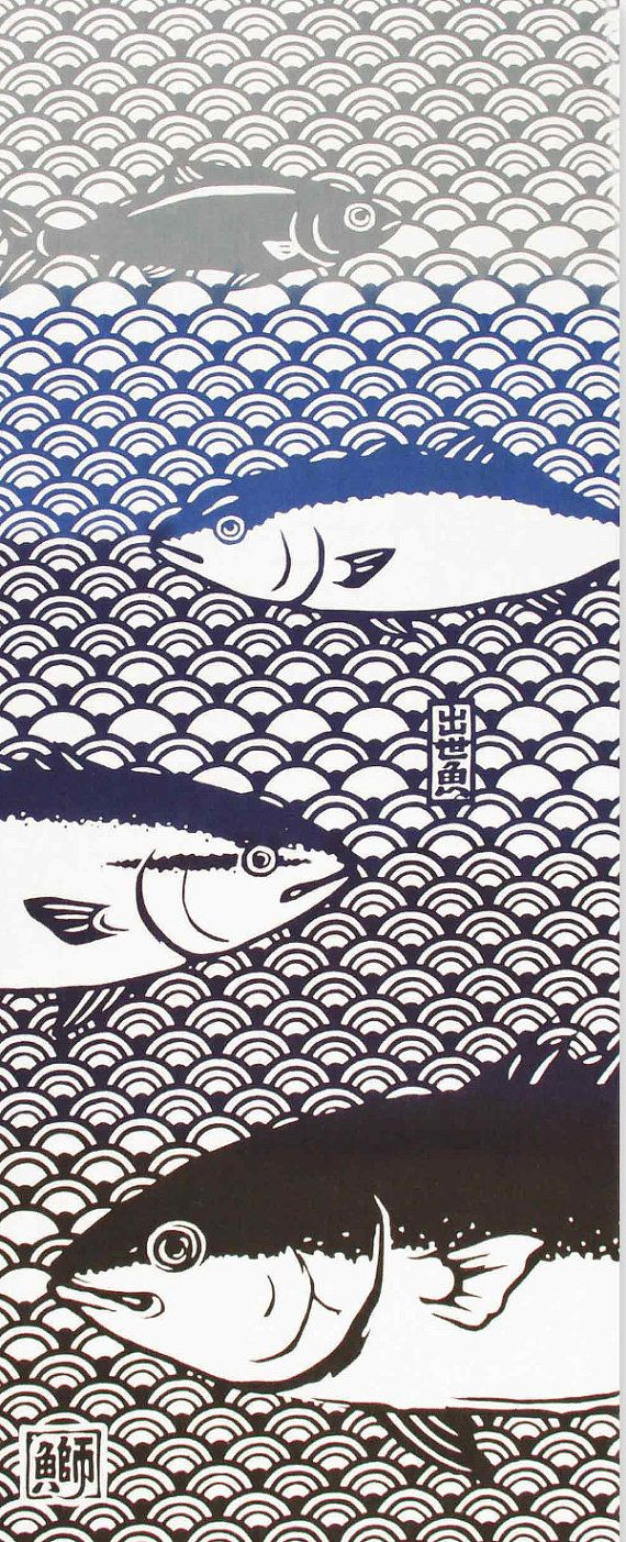 Japanese Tenugui Towel Cotton Fabric, Fish Fabric, Hand Dyed Fabric, Modern Art …   – Fische