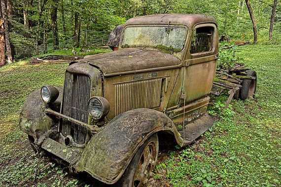 Old Abandoned Vintage Rusty Dodge Truck on a Farm in the Great Smoky Mountains in Tennessee No.0377 - A Fine Art Landscape Photograph on Etsy, $12.00