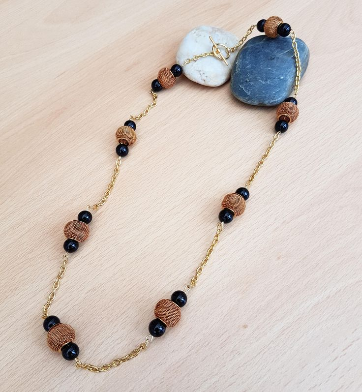 SALE  Black bead necklace, Bronze bead jewellery, Agate necklace, Women jewellery, Gemstone necklace, Handmade gift, Black stone jewellery by SweetgemsDesign on Etsy