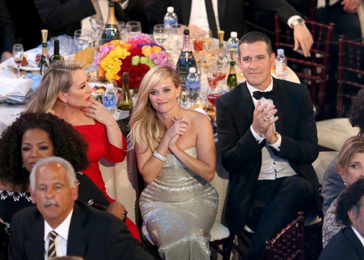 Pin for Later: Go Inside the Star-Studded Golden Globes  Reese Witherspoon and her husband, Jim Toth, sat with Wild author Cheryl Strayed.
