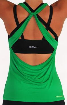 """Beautiful  Inexpensive Workout Clothes - Kiava Clothing (formerly LivFit)  [Black Endurance Bra  Green """"Knotty"""" Top]"""
