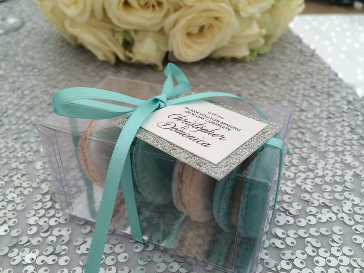 Turquoise & silver macaron wedding favours www.designercakesbyelle.co.uk