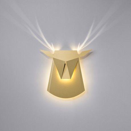 Aluminium Deer Head LED Light // Gold (Plug)