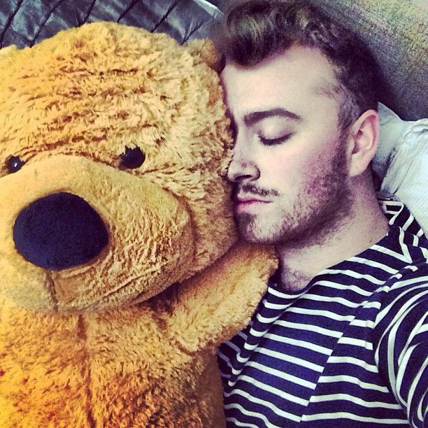 """Laryngitis is kicking my ass right now. The only thing getting me through is this Teddy Bear which is bigger than me."" - Sam Smith"