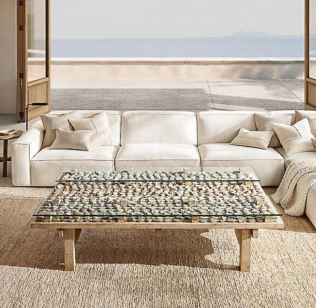 Como Modular Cream White Sofa Sectional Jute Rug Living Room Stone Coffee Table Sectional Sofa