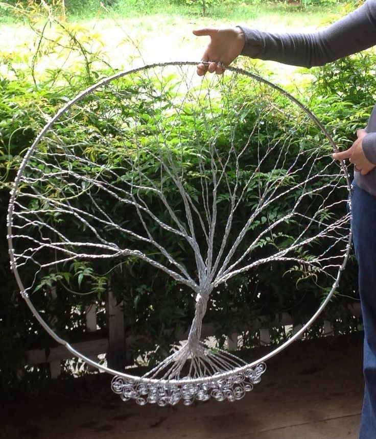 Diy tree of life wire art materials hoop from crab trap for How to make a wire tree of life sculpture