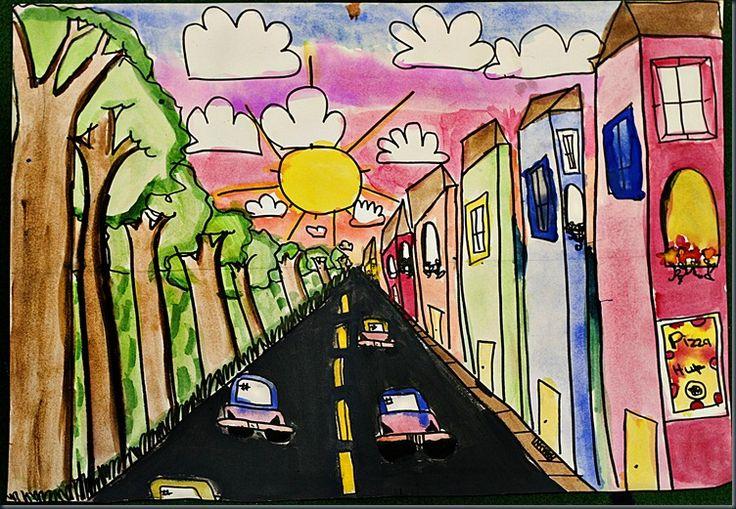 Wk 5 one point perspective lesson via elementaryartfun.blogspot.com