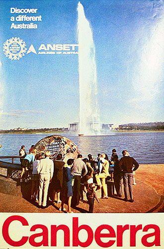 Ansett Airlines of Australia Canberra travel poster (circa 1970s)