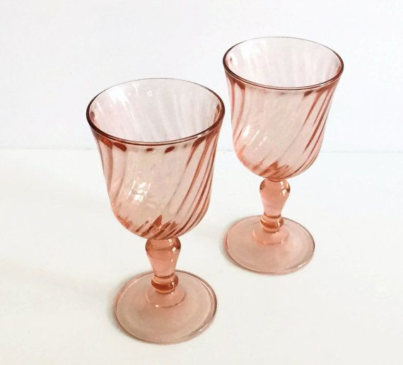 Arcoroc France, Pink Wine Glasses, Small Wine Glasses  #arcorocfrance #vintagestyle #etsy