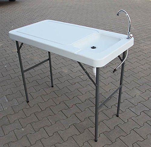 Mesa de camping con fregadero 115 x 60 cm de altura mesa para camping Cocina o barbacoas.: Amazon.es: Deportes y aire libre
