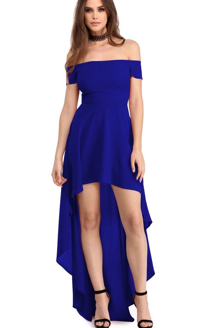 Cheap Blue High Low Hem Off Shoulder Party Evening Dress On Sale Modeshe.com, Free Shipping With us$60 Purchase.
