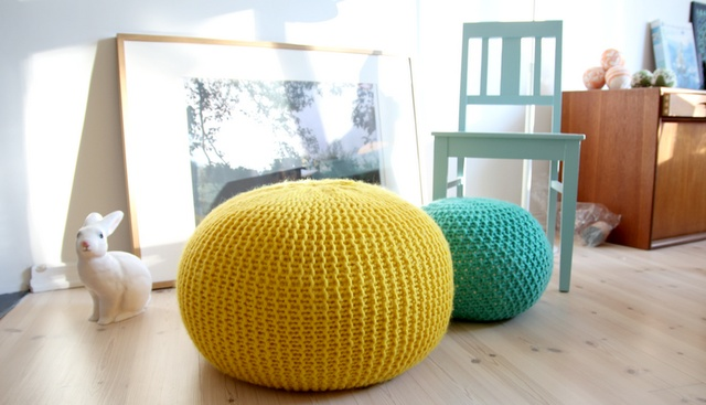 knitted colourful poufs