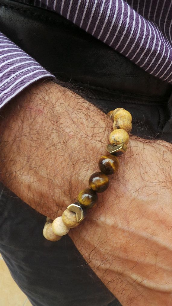 Mens Tiger Eye Bracelet Gemstone