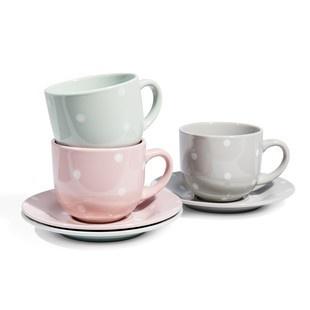 Set di 6 tazze e piattini da tè Pastello