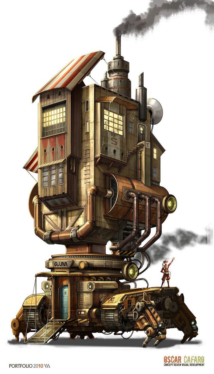 oscar+cafaro+steampunk+house+mansion+trackor+machine+mech+mecha+design+concept+art+building+sci+fi+1.jpg (917×1600)