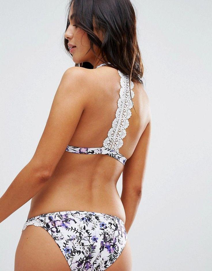 Peek & Beau Floral Triangle Bikini Top With Lace Back A-F Cup - Multi