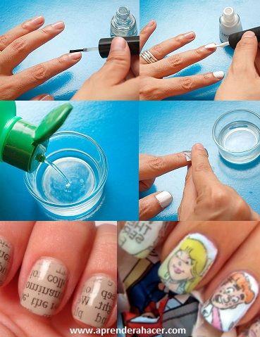 Newspaper nails! http://www.aprenderahacer.com/como-pintar-las-unas-con-periodico.html