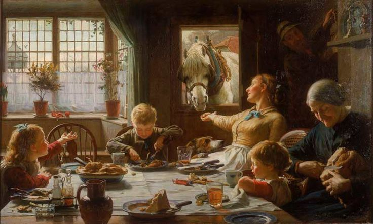 'One of the Family', Frederick Cotman, 1880. A farmer returns home for his meal as a horse leans through the doorway to be fed by his wife. http://www.liverpoolmuseums.org.uk/walker/collections/