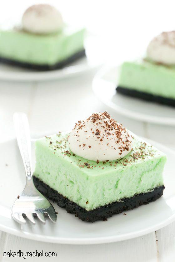 Creamy mint chocolate cheesecake bar recipe from @bakedbyrachel