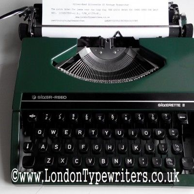 1970's Silver-Reed manual typewriter. They are one of the slimmest portable typewriters out there. And majority of the typewriter is made out of metal so the typing experience is ace. Also, my 2nd green typewriter for today! For sale at www.LondonTypewriters.co.uk #green #typewriter #typewriterfont #vintagesale #vintage #vintagedecor #retro #retrodesign #collectable #cool #japan #london #literature #londontypewriters #uk