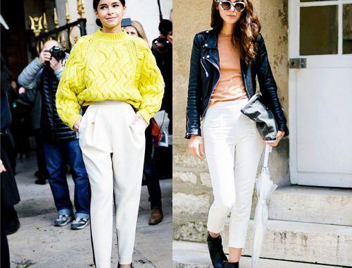 Jesienne stylizacje: białe spodnie, white trousers outfit
