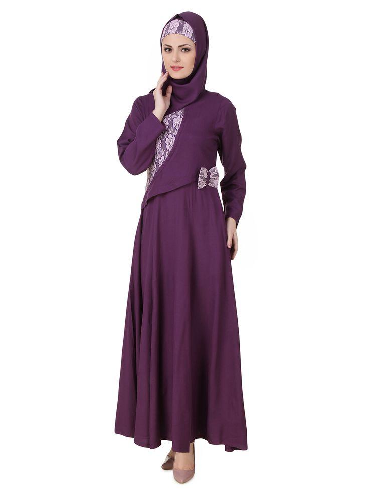 MyBatua Sireen Rayon Purple Abaya | Available in sizes XS to 7XL, lenth 50 to 66 inches.  Buy link : https://www.mybatua.com/catalogsearch/result/?q=sireen+rayon+purple+abaya
