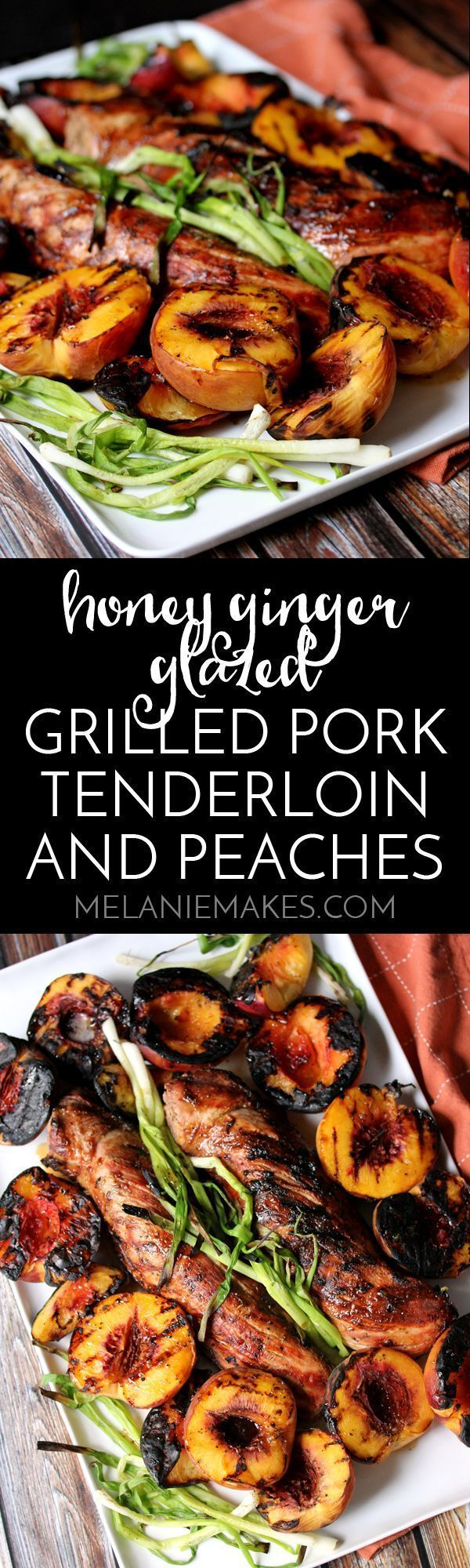This Honey Ginger Glazed Grilled Pork Tenderloin and Peaches is the perfect sweet and savory dinner combinatio. A sticky, sweet honey glaze spiked with fresh ginger is drizzled over perfectly grilled pork tenderloin and charred green onions and peaches. A complete meal made entirely on the grill!