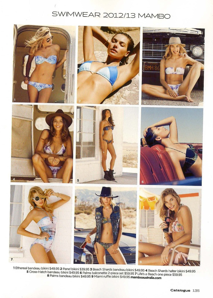 Nov - Print - Catalogue. Our Goddess's embracing their summer souls wearing Mambo's S12 women's range in Catalogue. #mambo #goddess #summer #bikini #roadtrip #catalogue