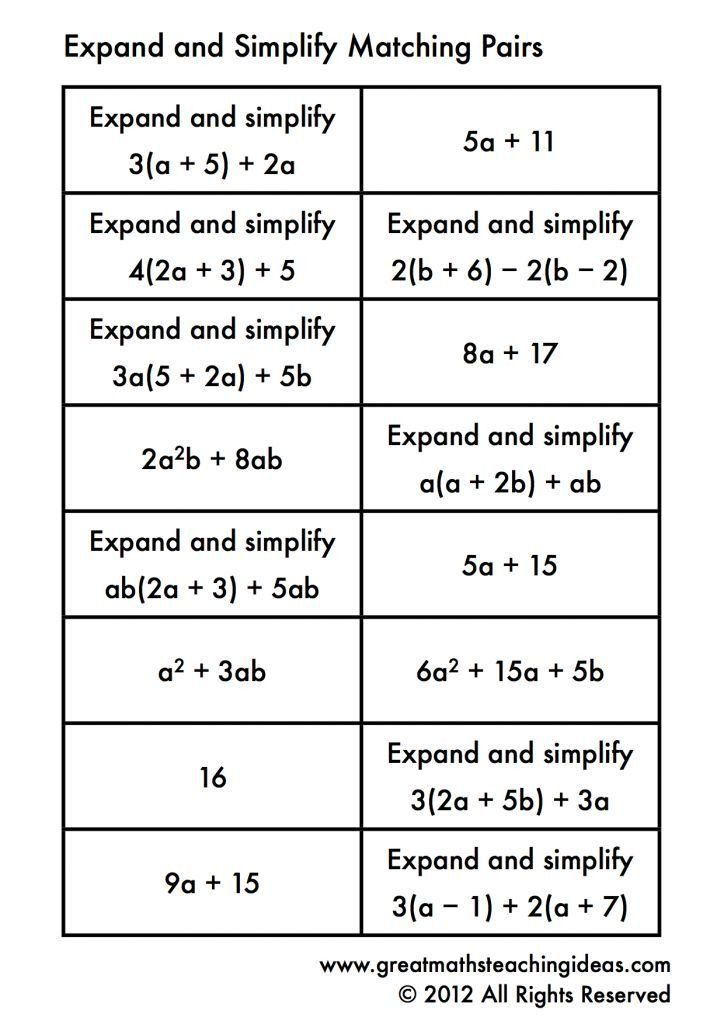 Matching Algebraic Expressions Worksheet Simplifying Expressions Matching Simplifying Expressions Algebraic Expressions Math Expressions