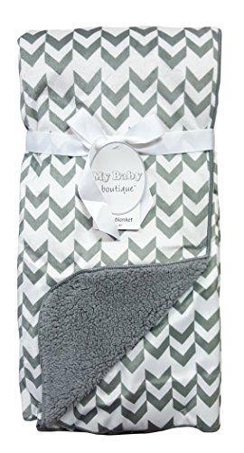"Baby Blanket Luxuriously Soft 30""x40"" Fleece 2 Layers (Chevron/Gray) - $18.36"