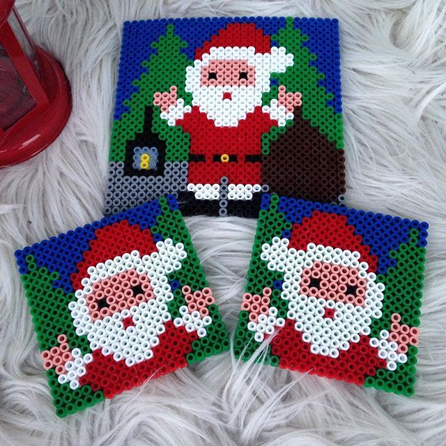 Santa Christmas coaster set hama beads by a_star_i_am