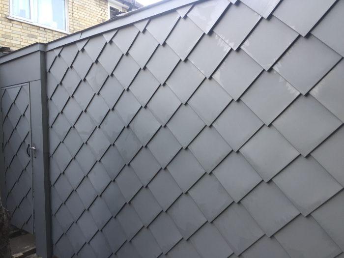 Zincoroofing Co Uk Zinc Diamond Shingles Fibreglass Roof Steel Roof Shingles Shingle House Exterior