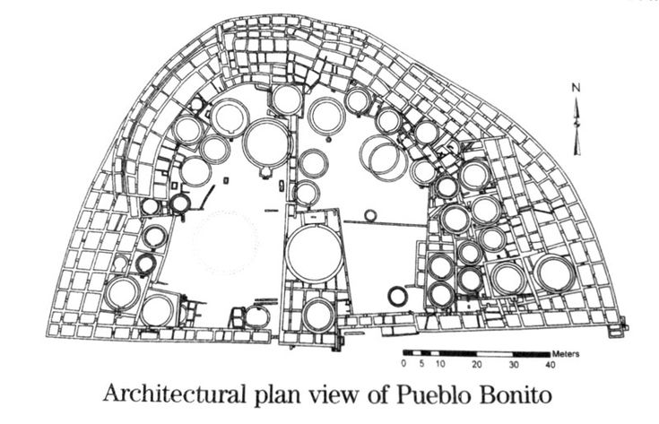 These systems evolved into clusters of directly interconnected spaces. The rooms usually stood four or five stories tall, with single-story rooms facing open plazas. The square ones,  (the pit houses), were people's habitations where the daily activities of the family took place.