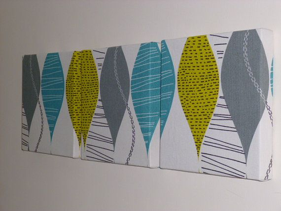 Set Of 3 Contemporary Modern Designer Retro Print Design Teal Mustard Gray Grey Print Wall Hanging Canvases Wall Art Wall Decor NEW FABRIC on Etsy, $69.71 CAD