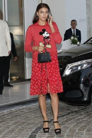 b4bc1520a1c Irina Shayk wearing Prada Saffiano Mini Bag and Prada Platform Sandal