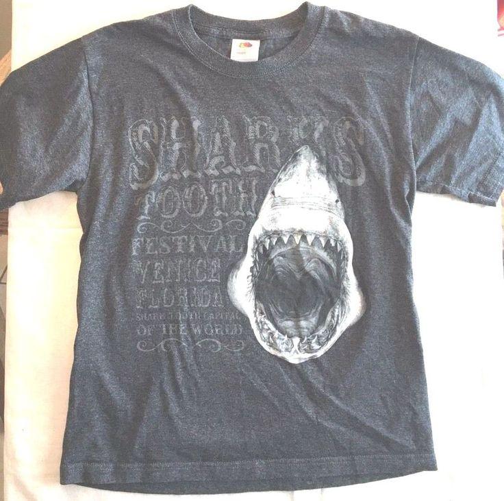 Kid's Shark T Shirt Venice Florida Shark Tooth Festival Youth Lg Charcoal Gray  #FruitoftheLoom #Everyday