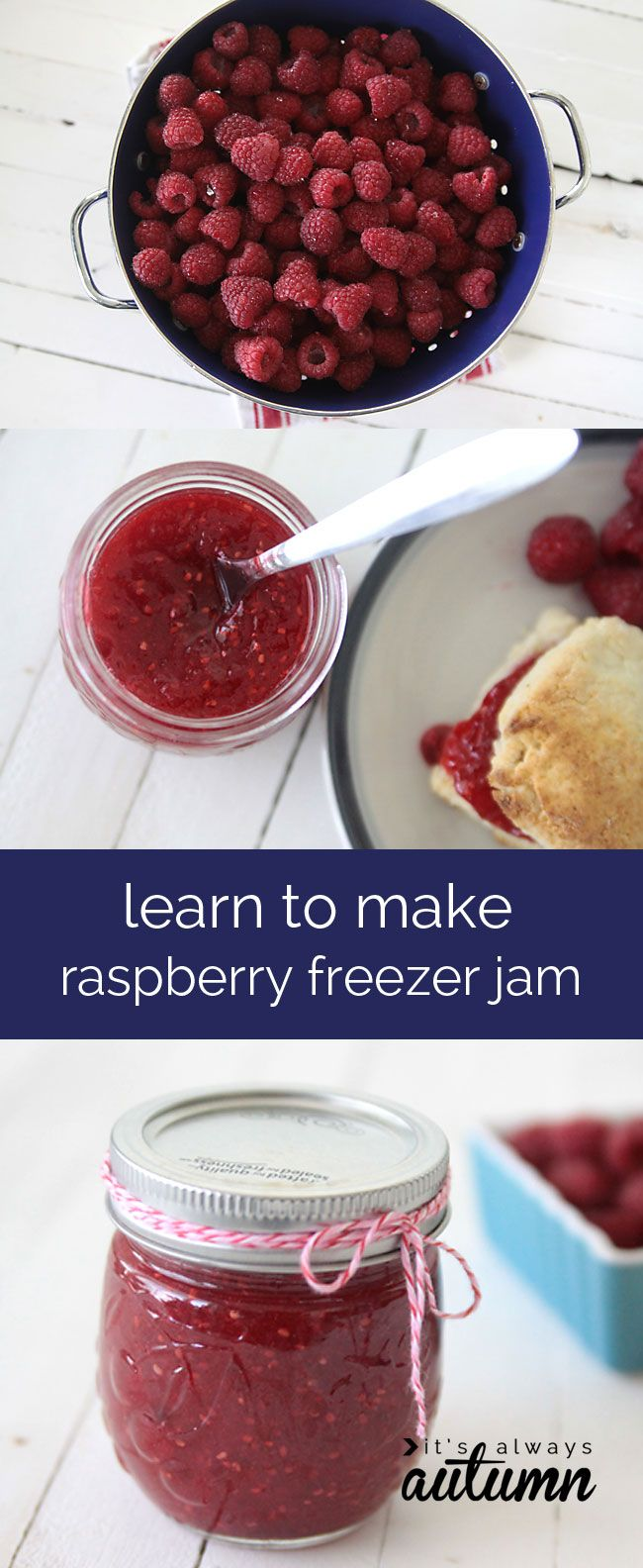 learn how to make homemade raspberry or strawberry freezer jam - it's so much easier than you think!