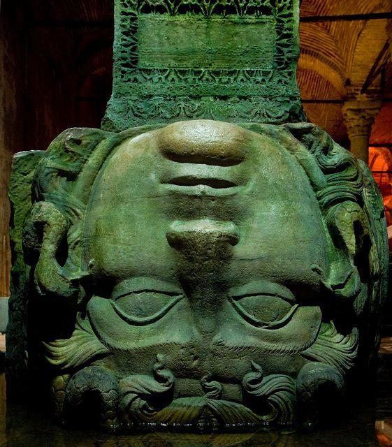 Medusa, Basilica Cistern, Istanbul, by Garrett Ziegler.