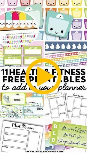 More than 10 FREE printable health and fitness planner stickers and planner inse…