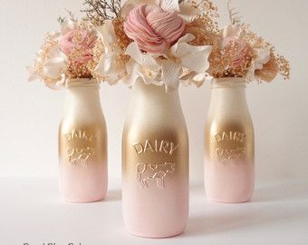 Mason Jar Glasses Drinkware Tumbler Copper Rose by BeachBluesBaby