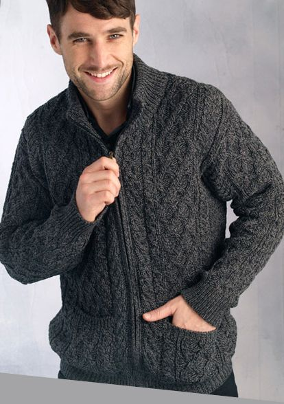 Aran Crafts Mens Cable Knit Aran Full Zip Cardigan Sweater