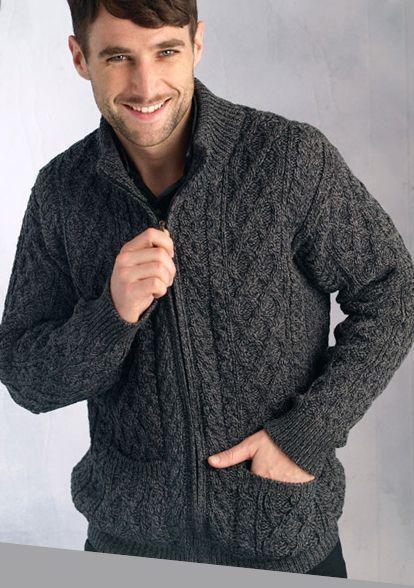 Aran Crafts Mens Cable Knit Aran Full Zip Cardigan Sweater