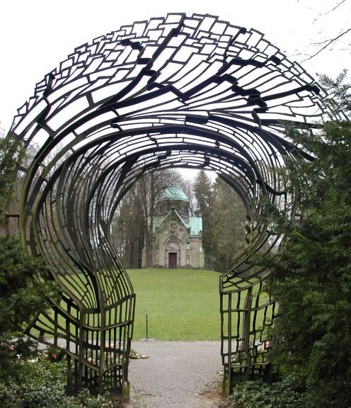 the entrance to mausoleum riedemann at friedhof ohlsdorf a cemetery in hamburg germany. Black Bedroom Furniture Sets. Home Design Ideas